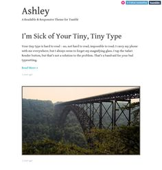 This free minimal Tumblr theme includes support for all post types, Google Web Fonts, a responsive layout, custom colors and images, and more.