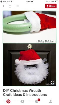 DIY Santa Tulle Wreath Instructions- Wreath Craft Ideas Holiday Decoration DIY Christmas Wreath Craft Ideas & Instructions: Holiday Wreath Collection from classical to fairy, sparkly to sweet and more! Wreath Crafts, Diy Christmas Gifts, Winter Christmas, Holiday Crafts, Holiday Fun, Christmas Ornaments, Holiday Ideas, Christmas Ideas, Wreath Ideas