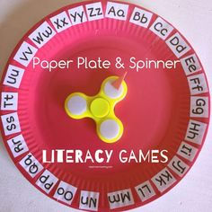 Paper Plate & Spinner Literacy Games - Teach Me Mommy Literacy Games, Kindergarten Games, Preschool Literacy, Alphabet Activities, Preschool Activities, Literacy Centers, Spelling Word Games, Letter Games, Teaching Letters