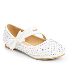 Take a look at this White Embellished Bow-Accent Mary Jane today!