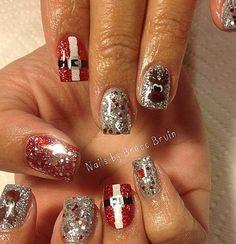 Sparkle Silver   Santa Belt Nail Decal