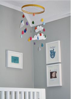 Adult activity: Use embroidery loop at the top of the mobile. Mobile could be 3 clouds with shapes hanging down. Guests/couples each make one line of shapes to attach to a cloud?