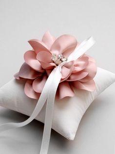 Pink ring pillow, blush ring bearer pillow, rose wedding pillow, flower girl, crystal wedding ring p Wedding Pillows, Ring Pillow Wedding, Wedding Ring Box, Rose Wedding, Wedding Bands, Diy Wedding Ring Holders, Wedding Blog, Wedding Ideas, Wedding Flowers