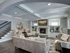 Traditional Living Room with Chiseled Edge Wall Caps, Winward Designs - Montgomery Iron Rusty Mirror, High ceiling, Carpet Living Room Lighting Ideas Low Ceiling, Ceiling Ideas, Ceiling Design, Living Room Decor Traditional, Beautiful Living Rooms, Grey Walls, Striped Walls, Home And Living, Living Room Furniture