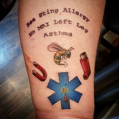 These are some amazing medical tattoos and a great way to ensure you are taken care of in case of an emergency.
