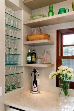 Wine Glass Storage Design Ideas, Pictures, Remodel, and Decor - page 3 if put glass cabinet for wine glasses in dining area, think about dressing back panel like this. Shallow Cabinets, Glass Front Cabinets, Oak Cabinets, Home Design Diy, Decor Interior Design, House Design, Design Ideas, Recessed Shelves, Glass Shelves