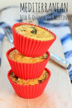 Mediterran Feta & Quinoa Egg Muffins ~Make ahead for a super easy and nutritious breakfast or lunch on the go! #glutenfree #vegetarian