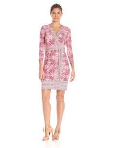 Donna Morgan Women's Three-Quarter Sleeve Wrap Dress