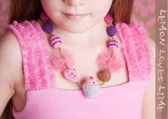 Lemon Loves Lime Girls Novelty Necklace - Pink Birthday Cupcake