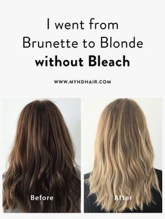 I went from Brunette to Blonde without Bleach and damage free. Going Blonde From Brunette, Blonde Hair At Home, Dying Hair Blonde, Brunette To Blonde Before And After, Blonde Hair Dye Without Bleach, Brunette Going Blonde, Dark Hair To Blonde, Dark To Light Hair, Short Dark Hair