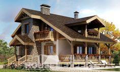 150-004-П Проект двухэтажного дома с мансардным этажом, уютный коттедж из газосиликатных блоков