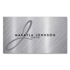 Modern and Elegant Gray Monogram Brushed Aluminum Double-Sided Standard Business Cards (Pack Of 100). Make your own business card with this great design. All you need is to add your info to this template. Click the image to try it out!