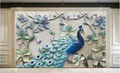 Cheap Wallpapers, Buy Directly from China Suppliers:beibehang Home Decor Wallpaper Mural Modern Fresh Stereo Relief Peacock TV Sofa Background Wall wallpaper papel de parede Peacock Wallpaper, Peacock Wall Art, 3d Wallpaper For Walls, Painting Wallpaper, Emboss Painting, Lotus Painting, Mural Painting, Mural Art, Murals