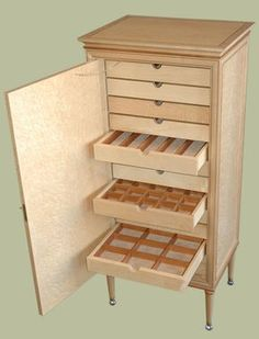 Birdseye Maple Jewelry Cabinet - Furniture Design by Mitchel Berman Cabinetmakers NBNB Bead Storage, Craft Room Storage, Jewellery Storage, Necklace Storage, Jewellery Boxes, Diy Jewellery, Jewelry Stand, Jewelry Holder, Jewelry Box