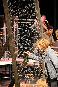 Glass frame for signing names - Thru47 - Commitment Sunday