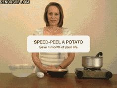 To easily peel potatoes, boil with the skins on them immerse in cold water for 5 seconds. Then twist the potatoes between your hands and the skin will peel right off!