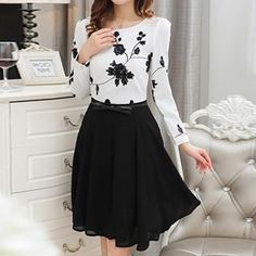 Buy 'Lovebirds – Long-Sleeve Flower-Print Dress' with Free International Shipping at YesStyle.com. Browse and shop for thousands of Asian fashion items from China and more! Asian Fashion, New Fashion, Waist Skirt, High Waisted Skirt, Love Birds, Flower Prints, China, Long Sleeve, Skirts