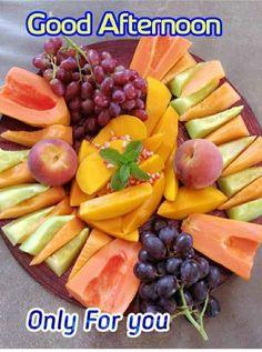 Good Afternoon Quotes, Good Morning, Fruit Arrangements, Fruit Salad, Friendship, Food, Night, Green, Nature