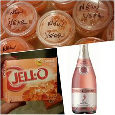 These scream girls night! Jello shots with peach Jello and pink moscato champagne! box peach jello mixed w cup boiling water. Add 1 cup cold moscato wine and stir. Pour into cups. Chill at least 3 hrs. Party Drinks, Cocktail Drinks, Fun Drinks, Alcoholic Drinks, Beverages, Cocktails, Party Shots, Drinks Alcohol, Pink Moscato Champagne