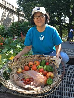 Jackie, a Chicago Master Gardener and some of Saturday's harvest for local food pantries from our Museum of Science and Industry Smart Home Garden