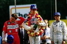 The podium (L to R): Mauricio Gugelmin (BRA) Ralt, second; Julian Bailey (GBR) GA Motorsport, winner; Roberto Moreno (BRA) Ralt, third - Brands Hatch - 1987 Intercontinental Formula 3000 Championship, round 7 - © Sutton Motorsport Images