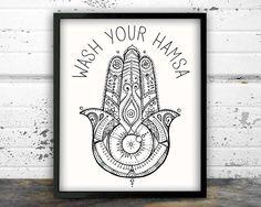 Bathroom Art, Bathroom Decor, Yoga, Hamsa, Decor, Yoga art, Zen by NarwhalDesignInk on Etsy https://www.etsy.com/listing/484651107/bathroom-art-bathroom-decor-yoga-hamsa