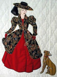 "#4  ""Gentlewomen Bonnet Girls Relatives & Friends""  Suzette $6.50.  The French Bonnet Girls Suzette and Claudette can be used alone or together. Suzette has a greyhound dog on a leash."
