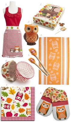 I WANT ALL THIS Owl stuff.!!! Owl stuff is so cute. I love owls. I love kitchen things I don't have much for my kitchen right now.