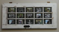 Old Door from Craigslist converted to beautiful 15 picture frame.