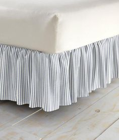 """Ticking Stripes Gathered Bed Skirt 20"""" Drop $69.95 - $99.95 at country curtains.com"""
