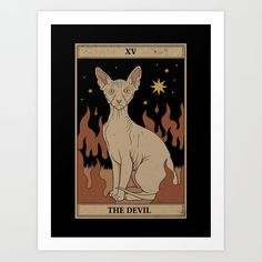 The Devil Mini Art Print by Thiago CorrAaa - Without Stand - x Devon Rex, Diy Frame, Canvas Prints, Art Prints, My New Room, Folded Cards, Illustrations, Tarot Cards, Moose Art
