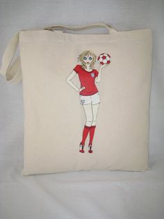 """""""Tote Bag 100% Cotton England Football Alice"""" design by AliceBrands Gifts for Holidays, Workouts and Fun.. http://etsy.com/uk/shop/AliceBrands  @ukfashionbible @usfashion @worldfashionews @WorldOfBloggers"""