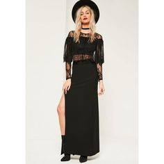Missguided Stretch Crepe Split Side Maxi Skirt ($36) ❤ liked on Polyvore featuring skirts, black, stretch skirts, long gothic skirts, stretch maxi skirt, long boho skirts and bohemian style skirts