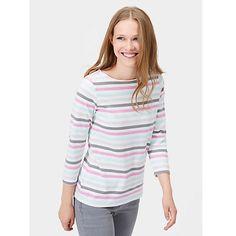 Buy Joules Harbour Stripe 3/4 Sleeve Jersey Top, Neopolitan Stripe Online at johnlewis.com