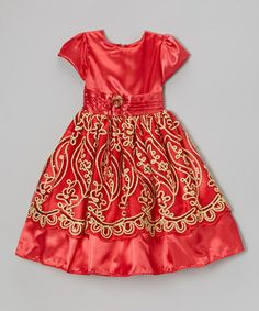 $40. Take a look at this Red Sequin Embroidered Dress - Girls by LA Sandra on #zulily today!