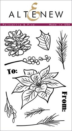This hand drawn set will give artistic flair to your holiday projects! A large poinsettia and pine cone are accompanied by other festive greenery and will allo
