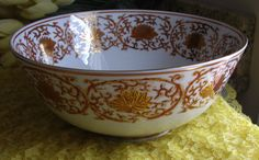 Jjantiq                           Etsy shop MASHED POTATOES Porcelain Bowl with Swags of Flowers and Leaves in Pretty Rust Color, Classy, Chic and Elegant