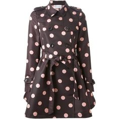 Red Valentino belted polka dot trench coat ($955) ❤ liked on Polyvore featuring outerwear, coats, black, belted coat, polka dot trench coat, trench coat, red valentino and black trench coat