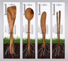 Scanwood kitchen utensils packaging / great reminder of where the product comes from