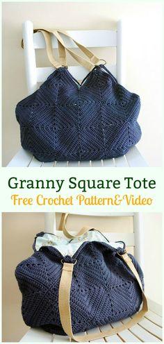 Granny Square Tote Bag Free Crochet Pattern - #Crochet #Handbag Free Patterns