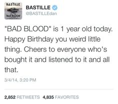 Happy Birthday, Bad Blood! Its a day late but oh well. This album changed my life and so a very happy birthday to it :)