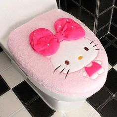 Hello Kitty & Bowtie Toilet Seat Cover