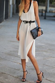 Backless Side Slit Sleeveless Midi Dress