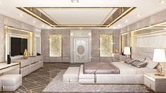 Modern unique beautiful bedroom interior design by Luxury Antonovich Design Studio Cheap Bedroom Decor, Beautiful Bedrooms, Room Design, Ceiling Design Bedroom, Bedroom False Ceiling Design, Luxurious Bedrooms, Remodel Bedroom, Interior Design, Luxury Bedroom Master