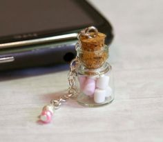 Marshmallow phone charm jar  kawaii Polymer clay by Zoozim on Etsy