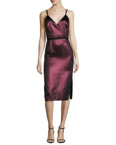 cinq a sept Soleil Metallic Strappy Cocktail Dress