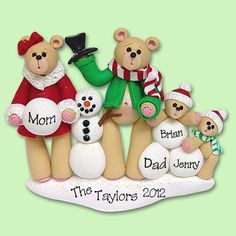 Bear Family of 4 with Snowman  HANDMADE by PersonalizedOrnament, $14.95