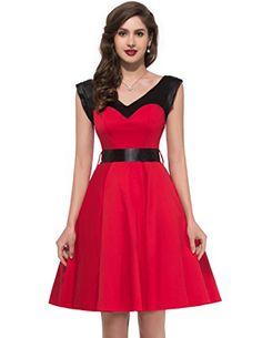 Women Vintage Inspired Cocktail Dress Red Casual Knee Len... https://www.amazon.com/dp/B014R3ZBK4/ref=cm_sw_r_pi_dp_x_eOmrybF1YP8R1 #2