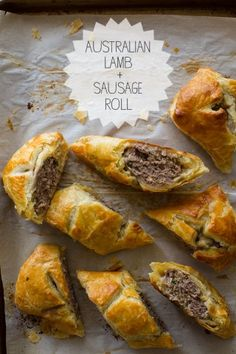 Australian Lamb & Sausage Rolls // Had to use ground beef instead of ground lamb, but it turned out really well. Tasters suggested either putting a layer of mozzarella in the middle, or mixing parmiggiano into the meat.