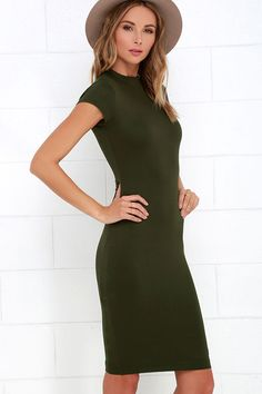 Chic Up Olive Green Bodycon Dressat Lulus.com!